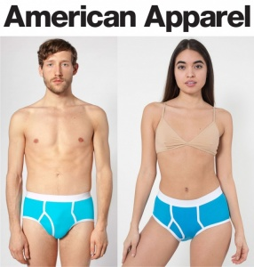 American Apparel AA025 Unisex Briefs - Aqua Blue & White